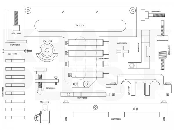 KRAFTPLUS® K.200-1042 Motor Einstellwerkzeug Satz für BMW Benzin Motoren 26-tlg.