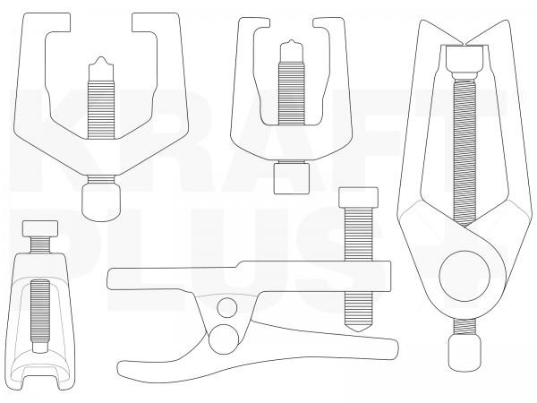 KRAFTPLUS® K.277-1379 Universal Kugelgelenk Ausdrücker Kugelgelenk-Abzieher 5tlg