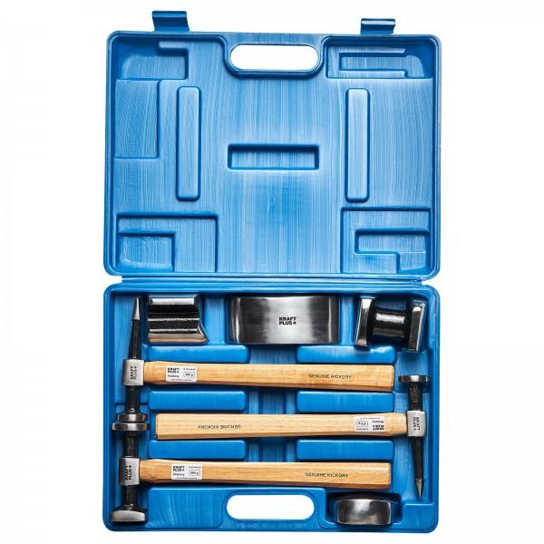 KRAFTPLUS® K.872-4010 Karosserie Ausbeul Satz 7 tlg Hammer mit HICKORY Holzstiel