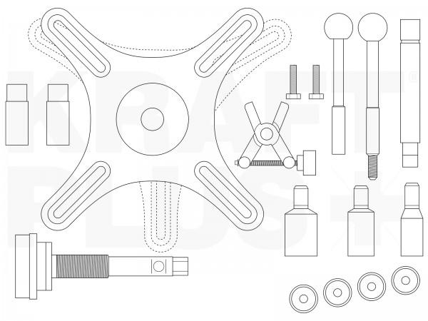 KRAFTPLUS® K.207-1664 SAC Kupplungswerkzeug 3-Loch & 4-Loch-Teilung - 37-tlg