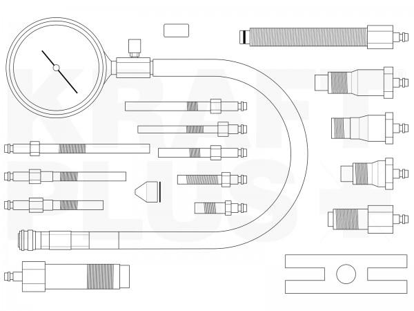 KRAFTPLUS® K.286-6266 Kompressionstester für Dieselmotoren PKW/LKW 19-tlg.